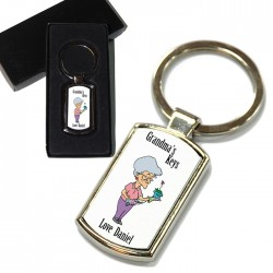 Grandmas Personalised Key Ring. Polished Silver colour in a presentation box