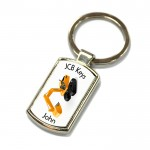 JCB, Joke Key Ring. Polished Silver colour in a presentation box