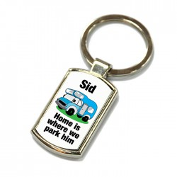Camper Van Key Ring. Polished Silver colour in a presentation box