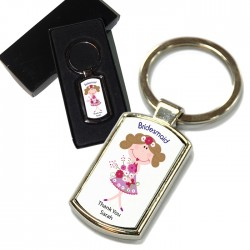Cute Bridesmaid, Wedding Gift Favour Key Ring. Polished Silver colour in a presentation box
