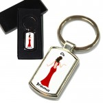 Bridesmaid Red Dress, Wedding Gift Favour Key Ring. Polished Silver colour in a presentation box