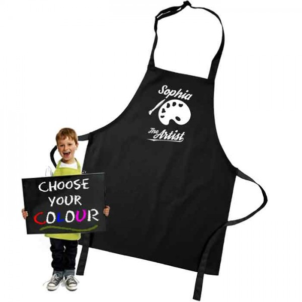 Kids Artist Coloured Apron. Colour variations.