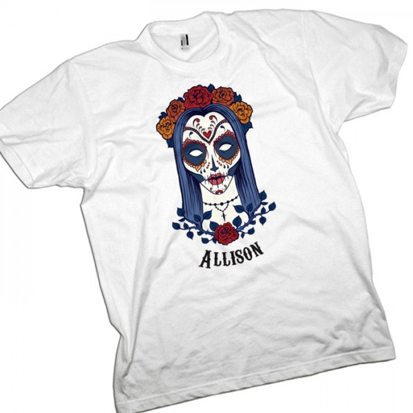 Candy Skull, Sugar Skull Personalsied T-Shirt.