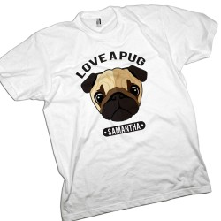 Love a Pug Dog Personalised T-Shirt.