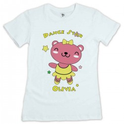 Cute Little Dancing Star Pink Teddy Personalised T-Shirt