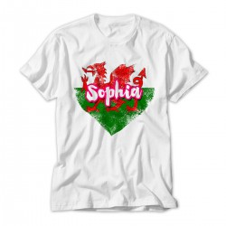 Welsh Flag Design in a grunge heart.  Fun Personalised T-Shirt