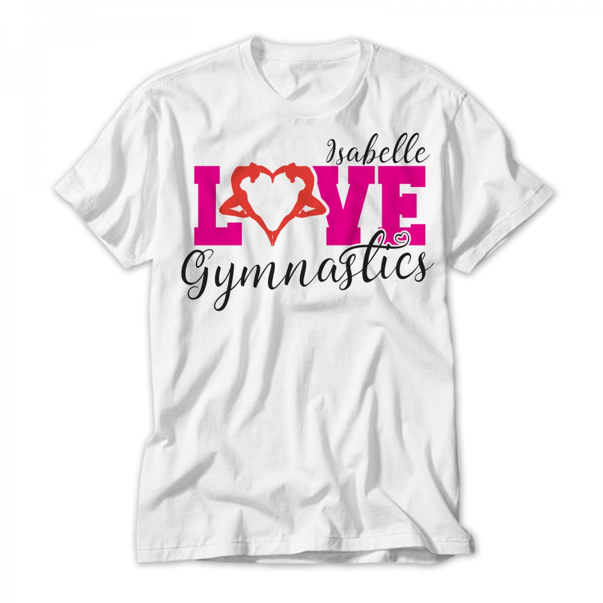 Heart design t shirt - Love Gymnastics Design Stylish Gymnast Silhouette Heart Personalised T Shirt