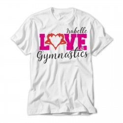 Love Gymnastics Design Stylish Gymnast silhouette heart Personalised T-Shirt.