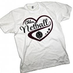 Personalised Kids Netball Love Heart T-shirt