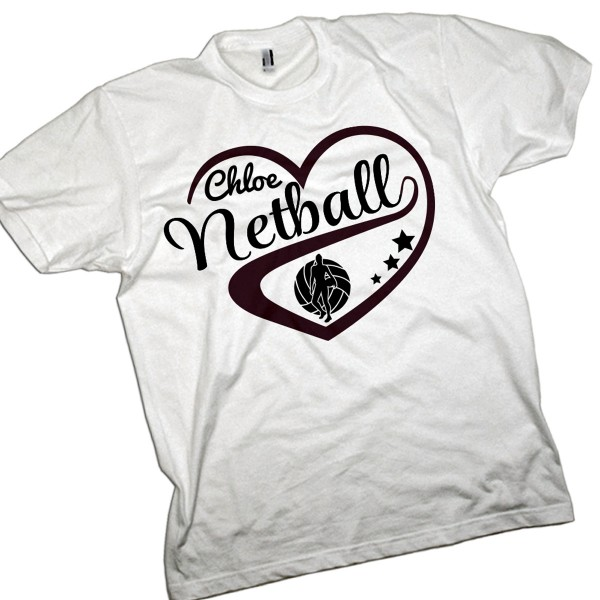 Personalised Kids Netball Love Heart T-shirt