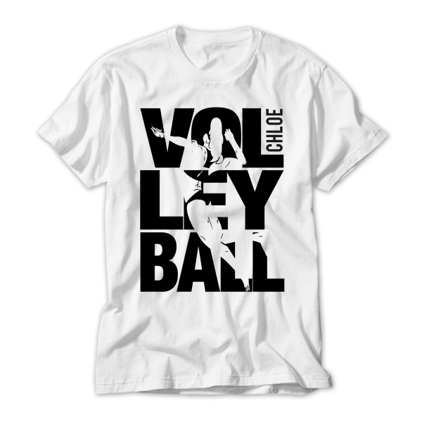 Personalised Kids Volley Ball T-Shirt. Large Black Letters.