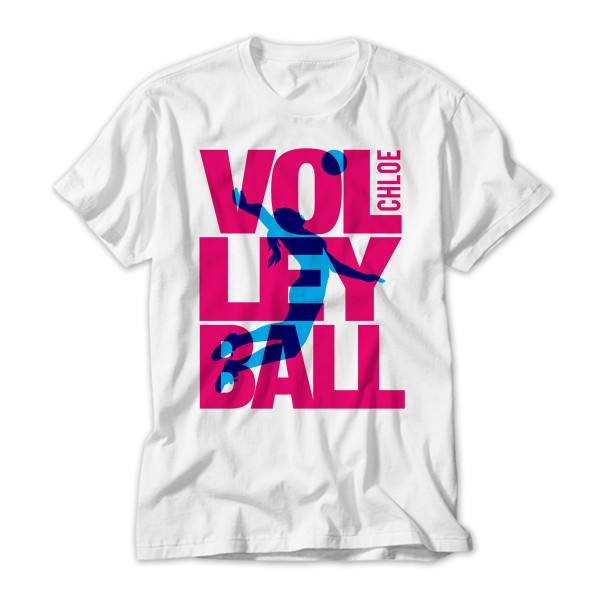 Personalised Kids Volley Ball T-Shirt. Pink Design