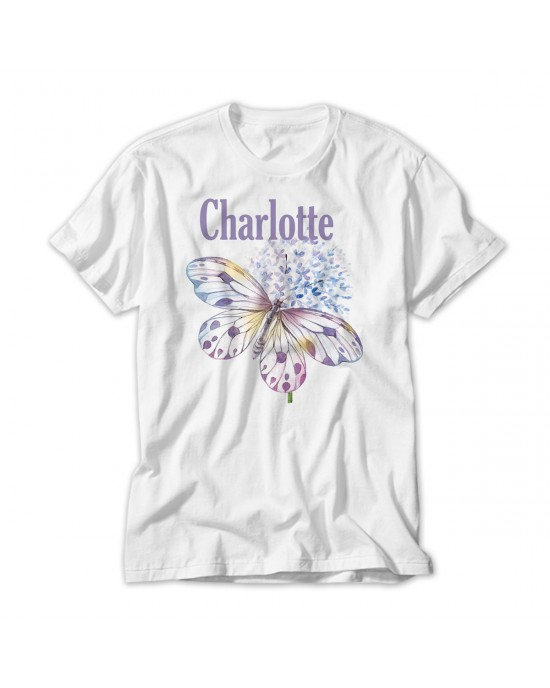 Pretty Butterfly Personalised T-Shirt Lovely Quality Cotton Feel. Girls  sizes 3 yrs to 14 yrs