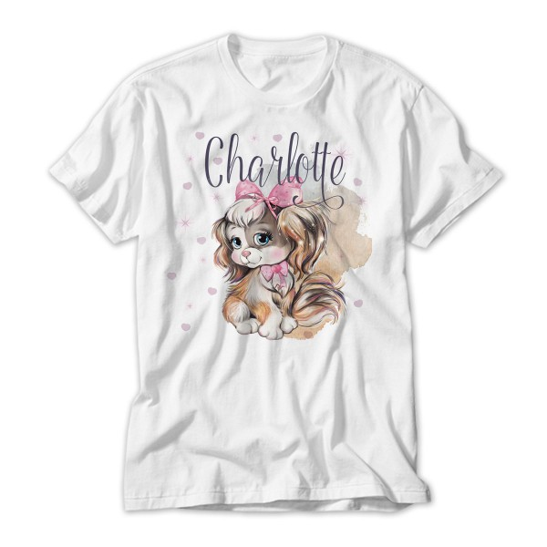 Cute Dog Personalised T-Shirt Lovely Quality Cotton Feel. Girls  sizes 3 yrs to 14 yrs