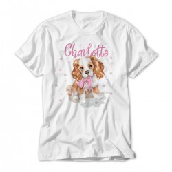 Cute Little Dog Personalised T-Shirt Lovely Quality Cotton Feel. Girls  sizes 3 yrs to 14 yrs