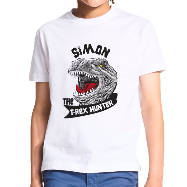 Personalised T-Rex Dinosaur Hunter Kids T-Shirt