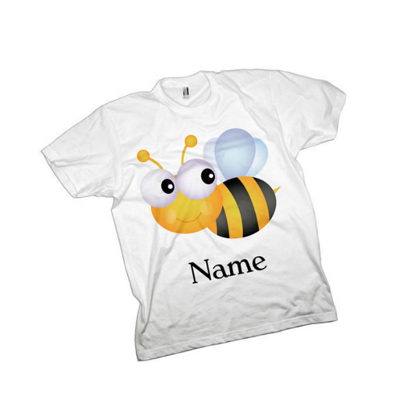 Bumble Bee Personalised Kids T-Shirt. Available In White