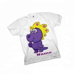 Purple Cute Dinosaur Personalised T-Shirt