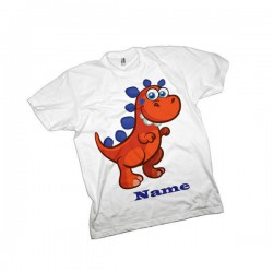Orange Dinosaur Personalised T-Shirt. Available In White