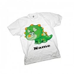 Green Triceratops Dinosaur Personalised T-Shirt