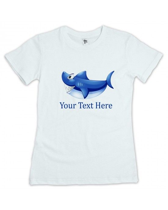 Personalised Children's Shark T-Shirt. Your Text /Name/Message Added