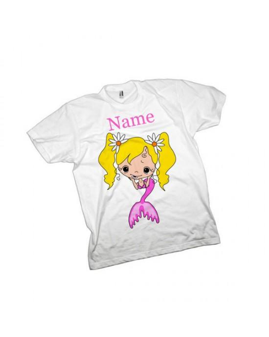 Mermaid Personalised Kids T-Shirt.  Quality Cotton Feel
