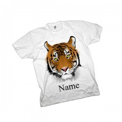 Tiger Personalised T-Shirt. Available In White Lovely Quality Cotton Feel. Girls or Boys Birthday Christmas Gift Idea