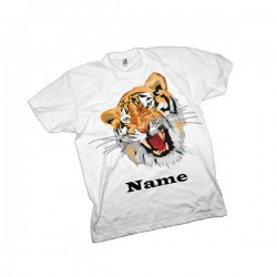 Tiger T-Shirt. Available In White Lovely Quality Cotton Feel. Girls or Boys In sizes 3 yrs to 14 yrs