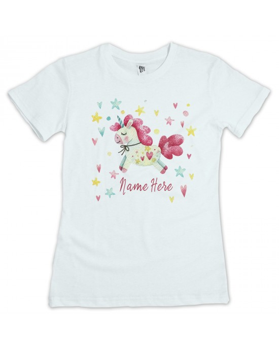 54f4c79b Unicorn, personalised T-Shirt. Available In White Lovely Quality Cotton  Feel. Girls or Boys In sizes 3 yrs to 11 yrs