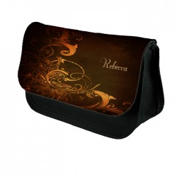 Abstract Orange Swirls Make up bag. Unusual Design Make Up / Cosmetic Bag