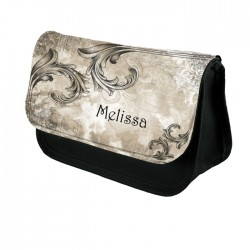 Vintage, Aged Looking Scrolls Make up bag Personalised Make Up / Cosmetic Bag