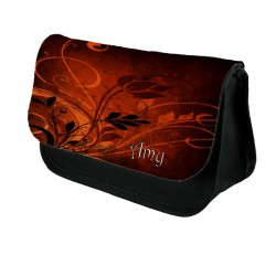 Abstract Orange & Red Swirls Make up bag. Unusual Design Make Up / Cosmetic Bag