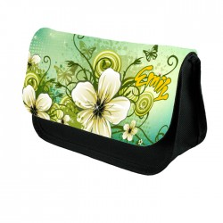 Illustrated Flowers In Green, Make up bag. Unusual Design Make Up / Cosmetic Bag