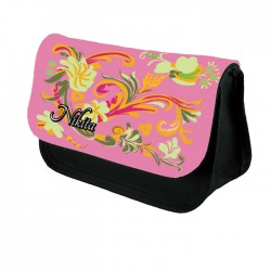 Painted Effect Floral Personalised Gift Pencil Case / Make Up Bag. Birthday / Christmas Gift Idea