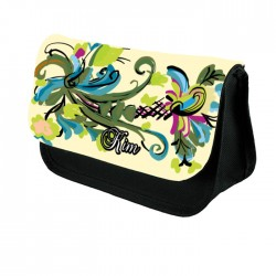 Painted Flowers Personalised Gift Pencil Case / Make Up Bag. Birthday / Christmas Gift Idea