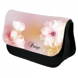 Soft Pink & White Floral Pencil Case / Make Up Bag. Birthday / Christmas Gift Idea