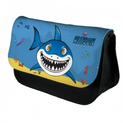 Cartoon Shark Personalised Make Up Stationary Pencil  Bag Case. Perfect Gift Kids Fun Idea.