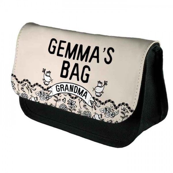 Black & White Pretty Floral Personalised Make Up Bag Perfect Gift Idea for Her. Wedding Favours Birthdays Christmas.