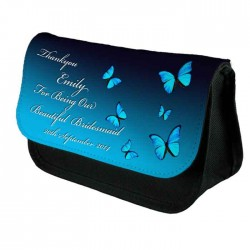 Blue ButterflyWedding Thank, Personalised Make Up Bag Perfect Gift Idea for Her. Wedding Favours Birthdays Christmas.
