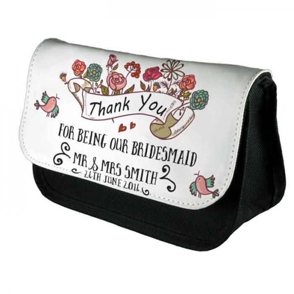 A Pretty Floral Scroll Personalised Make Up Bag Perfect Gift Idea for Her. Wedding Favours Birthdays Christmas.