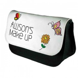 Hand Drawn Butterfly Personalised Make Up Bag Perfect Gift Idea for Her. Wedding Favours Birthdays Christmas.