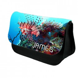Personalised Red Lion Fish Design Make up case, Cosmetic bag, Pencil Case.