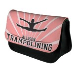 Personalised Trampolining Design Make up case, Cosmetic bag, Pencil Case.  For Fans of the sport