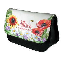 Personalised Beautiful Floral Design Make up case, Cosmetic bag, Pencil Case. Change the text or add you own words for a lovely gift.