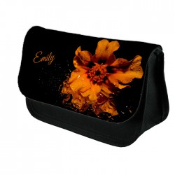 Personalised Unusual Orange Flower Design Make up case, Cosmetic bag, Pencil Case.