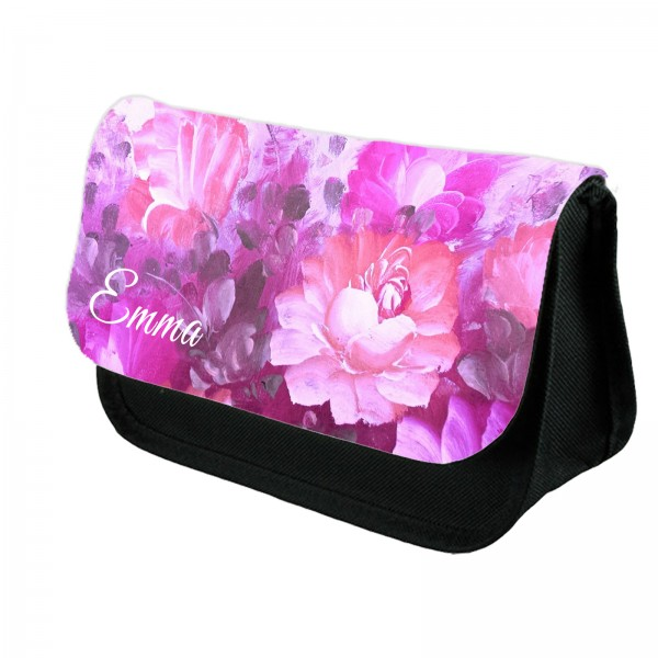 A Pretty Pink Floral Personalised Make Up Bag Perfect Gift Idea for Her.