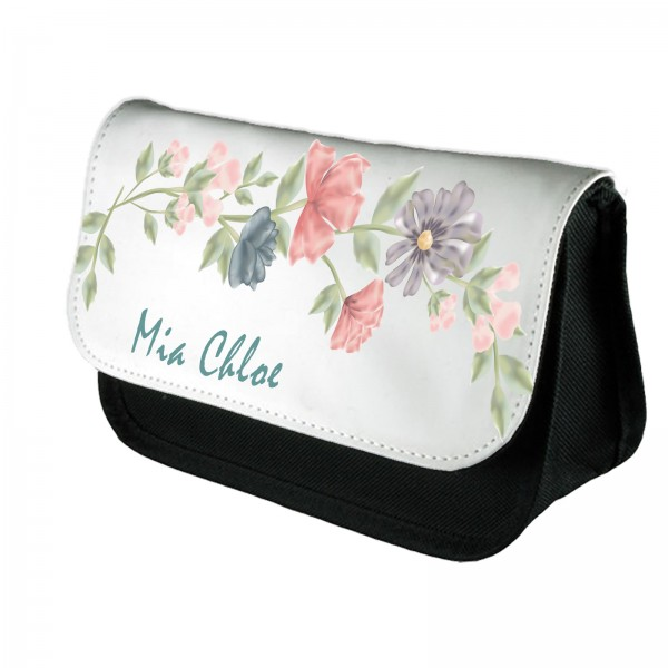 A Very Subtle Pretty Water colour Floral Personalised Make Up Bag.