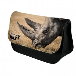 Personalised Rhino Stationary case, Cosmetic bag, Pencil Case.