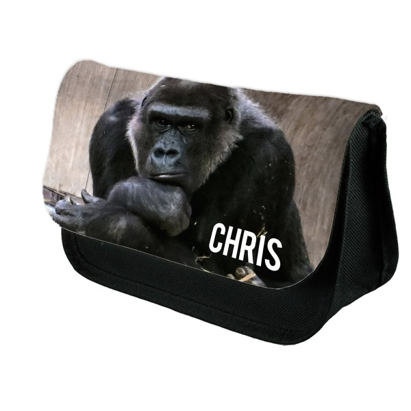 Personalised Gorilla pencil case.