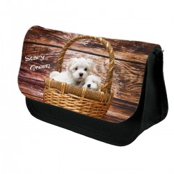 Cute Maltese dogs Personalised Pencil Case.